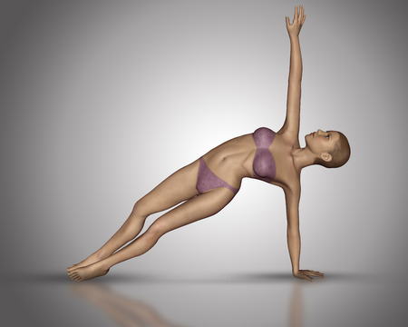anatomically: 3D render of a female figure in a yoga position