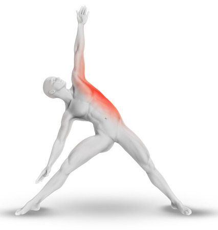 male body: 3D render of a male medical figure in yoga pose with stretched side highlighted
