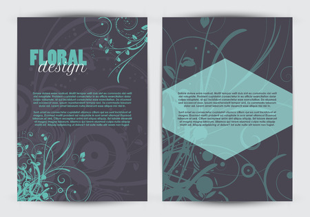 sided: Flyer template with a double sided floral design Stock Photo