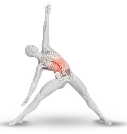 naked male body: 3D render of a male medical figure with partial skeleton in yoga pose Stock Photo