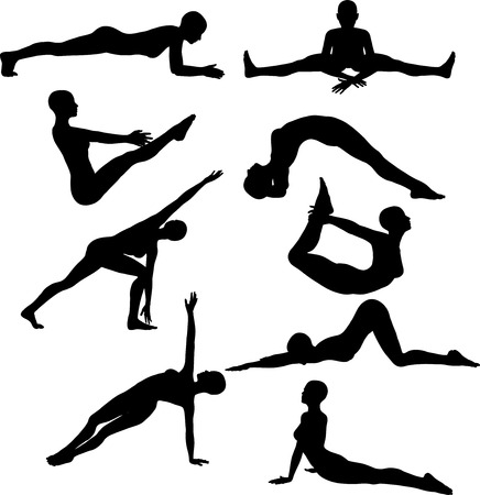 keep fit: Silhouettes of females in various yoga poses
