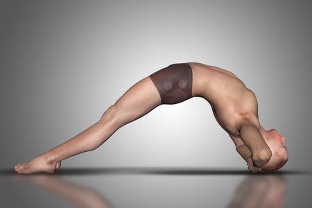 cuerpo hombre: 3D rinden de una figura masculina en una posición de yoga Foto de archivo