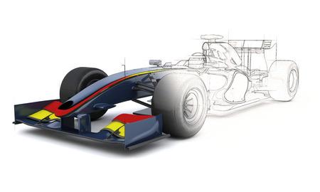 3D geef van een generische racewagen met de helft in schets voorvertoning