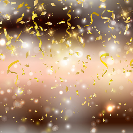 Gold background with confetti and streamers Foto de archivo