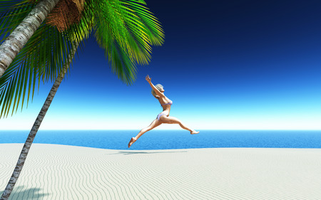 jetty: 3D female in a bikini jumping for joy on a tropical sandy beach