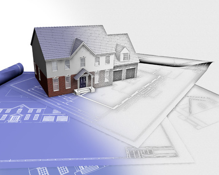 phase: 3D render of a house on blueprints with half in sketch phase