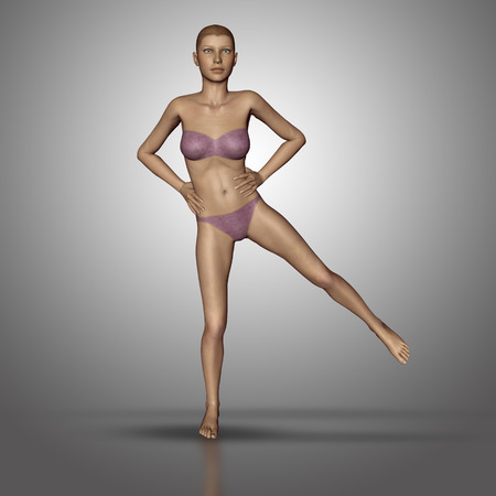 anatomically: 3D render of a female figure in a yoga standing position Stock Photo