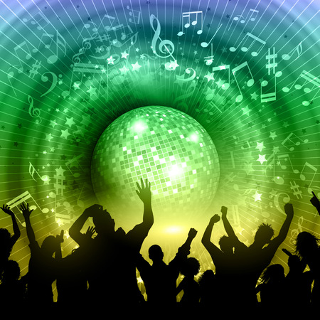 mirror ball: Silhouette of a party crowd on an abstract mirror ball background with music notes and rainbow colours