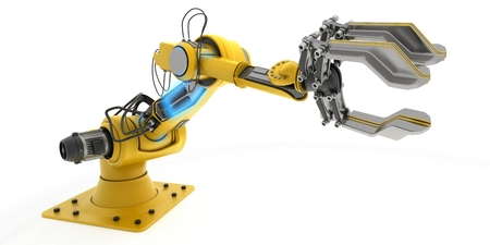 factory automation: 3D Render of an Industrial Robot Arm Stock Photo