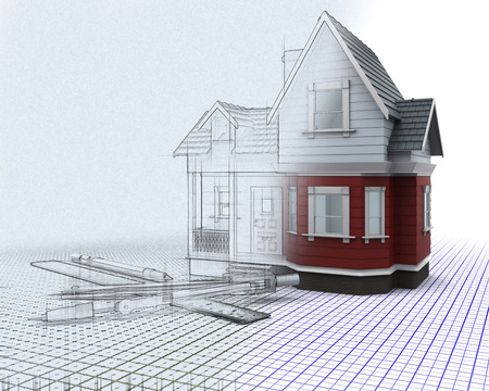 house render: 3D render of a timber house on a grid with drawing instruments with half in sketch preview