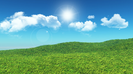 tranquility: 3D landscape of grassy hill with clouds in a blue sky
