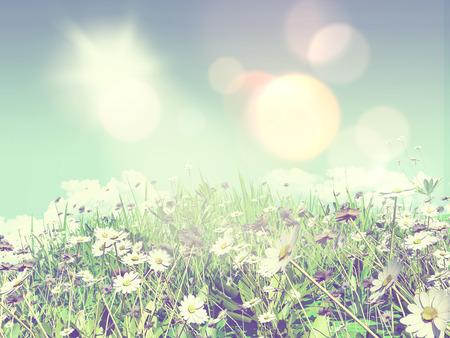 fondos azules: 3D de procesamiento de margaritas en la hierba contra un cielo azul Foto de archivo