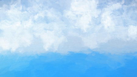 Watercolour abstract of a blue ocean and fluffy white clouds in sky