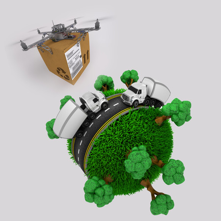 commercial recycling: 3d render of a quadcopter drone with parcel flying over grassy globe with trucks Stock Photo