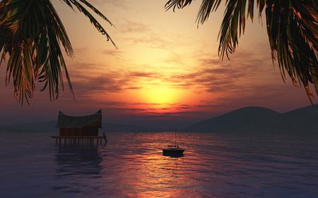 atmospheric: 3D female figure sunbathing on a boat in a tropical landscape at sunset