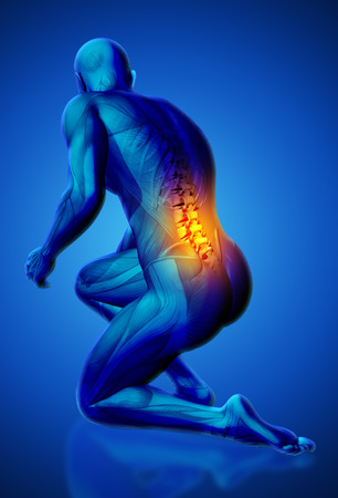 naked male: 3D blue male medical figure with lower spine highlighted in kneeling position