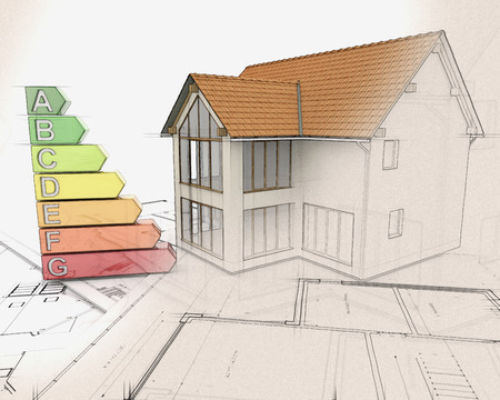 ratings: 3D render of a house with energy ratings with half in sketch phase