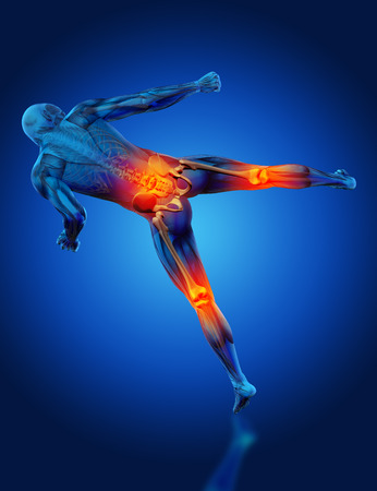 nude male body: 3D render of a male medical figure in kick boxing pose with knees and spine highlighted