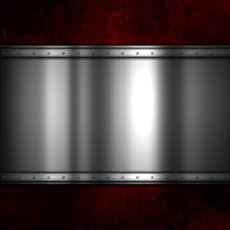 metal: Shiny metal plate on a red grunge background with scratches and stains