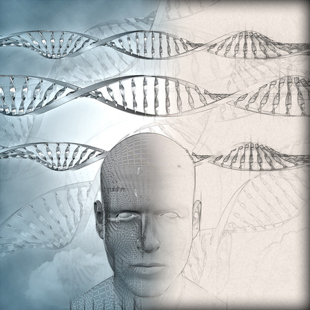 phase: 3D medical background with DNA strands and male face with partial sketch phase Stock Photo