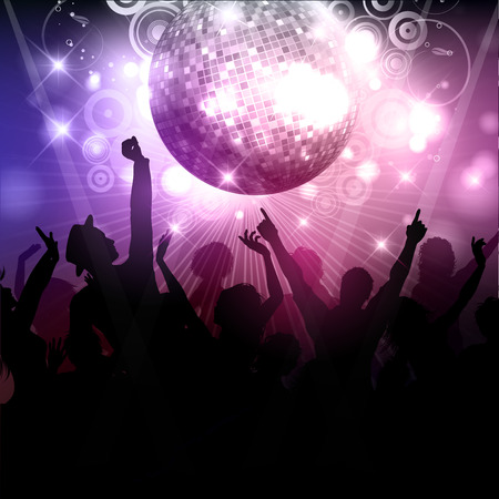 Silhouette of a party crowd on a disco ball background