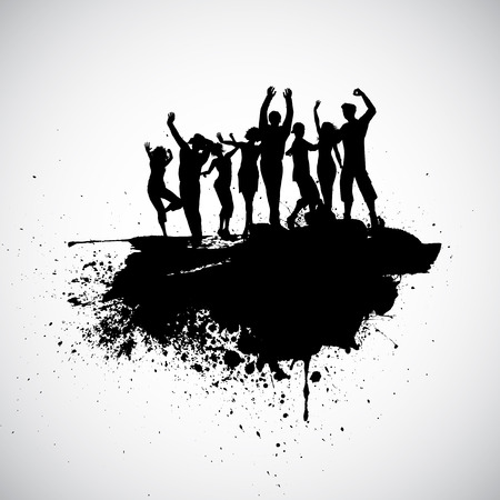 young people party: Silhouettes of people dancing on a grunge background