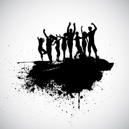 gente bailando: Siluetas de personas bailando en un fondo grunge