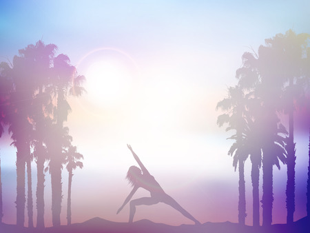 keep fit: Silhouette of a female in yoga pose in summer palm tree landscape with retro effect