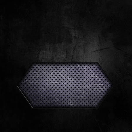 aluminium texture: Dark grunge texture background with cutout showing perforated metal