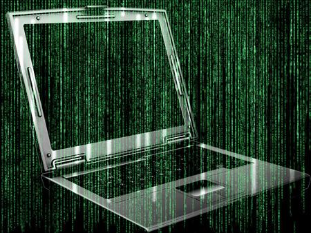 matrix code: Futuristic background with matrix style code design with 3D laptop Stock Photo