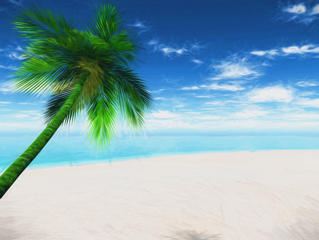 sunny beach: 3D render of a palm tree sunny beach landscape with abstract effect