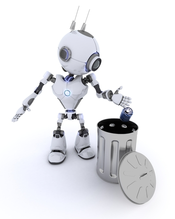 chrome man: 3D Render of a Robot recycling waste Stock Photo