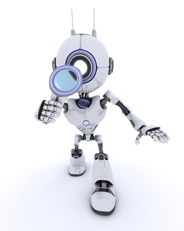 chrome man: 3D render of a Robot with magnifying glass Stock Photo