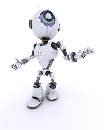 chrome man: 3D render of a Robot with
