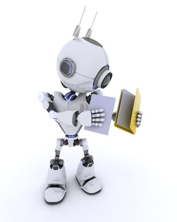 filing document: 3D Render of an Robot with folder and documents Stock Photo