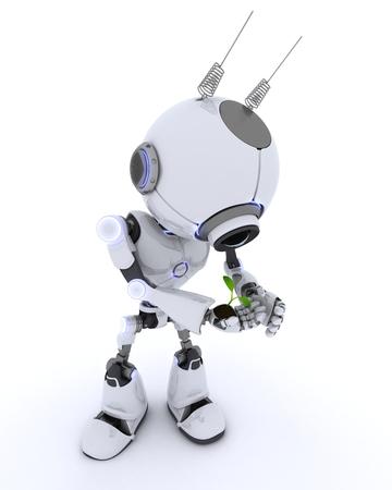 nurture: 3D render of a Robot with nurturing a plant Stock Photo