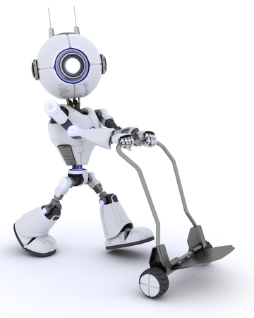 chrome man: 3D render of a Robot with a Delivery Trolly Stock Photo