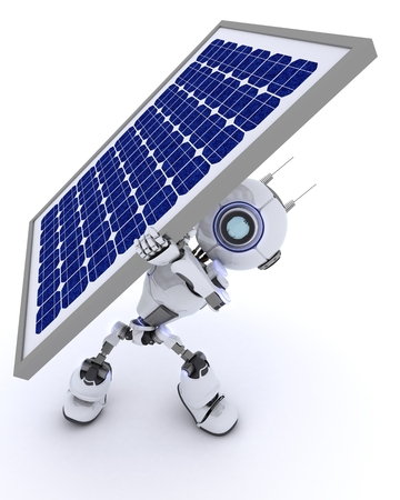 chrome man: 3D render of a Robot with a solar panel