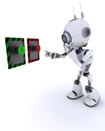どのボタンを押せば選択するロボットの 3 D レンダリングします。