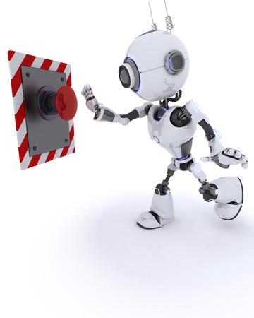 activate: 3D Render of an Robot pushing a button