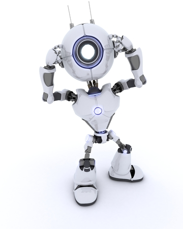 chrome man: 3D render of a Robot Thinking Stock Photo