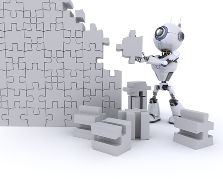 problems solutions: 3D Render of an Robot with Jigsaw puzzle