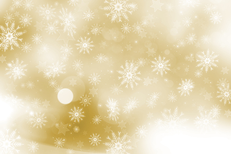 christmas gold: Gold Christmas background with snowflakes and stars design Stock Photo