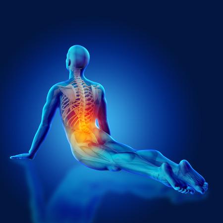 nudo maschile: 3D rendono di una figura medica blu in una posa yoga