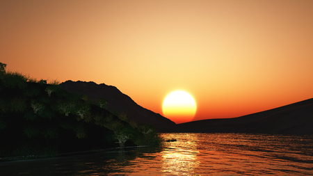 sunset lake: 3D render of a sunset landscape with hills and lake