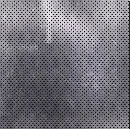dent: Scratched perforated metal background with stains Stock Photo
