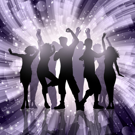 party people: Silhouettes of party people on an abstract swirl background Stock Photo