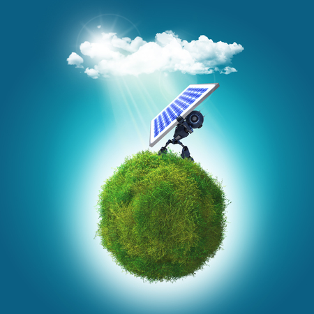 sunny sky: 3D render of a grassy globe a robot holding a solar panel to the sunlight