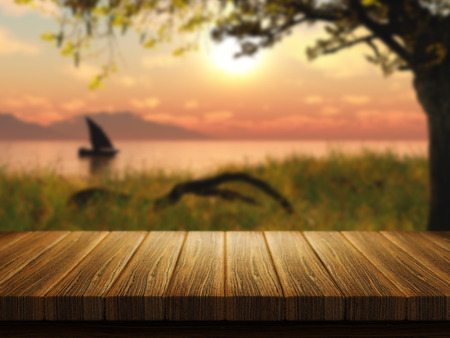 bar top: 3D render of a wooden table with a defocussed image of a boat on a lake