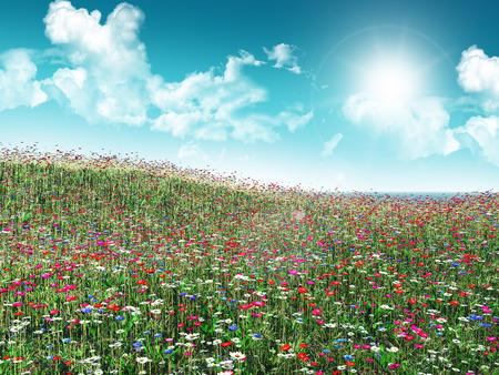 3d flower: 3D render of a flower landscape